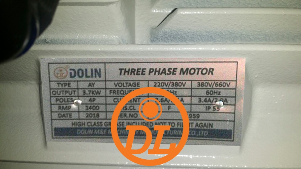 Dolin Electric Motor Nameplate